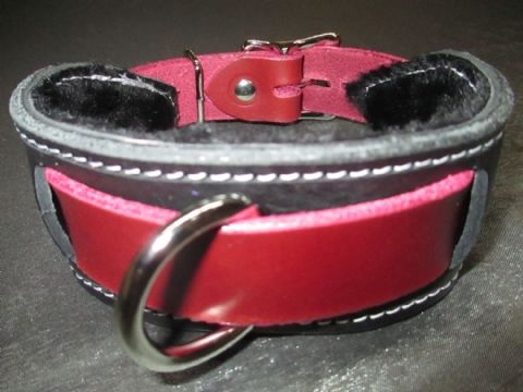Oxblood/Black Fur Lined Locking Heavy Duty Slave Collar
